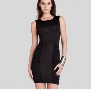 BCBGMAXAZRIA ruched body con Black dress-XS